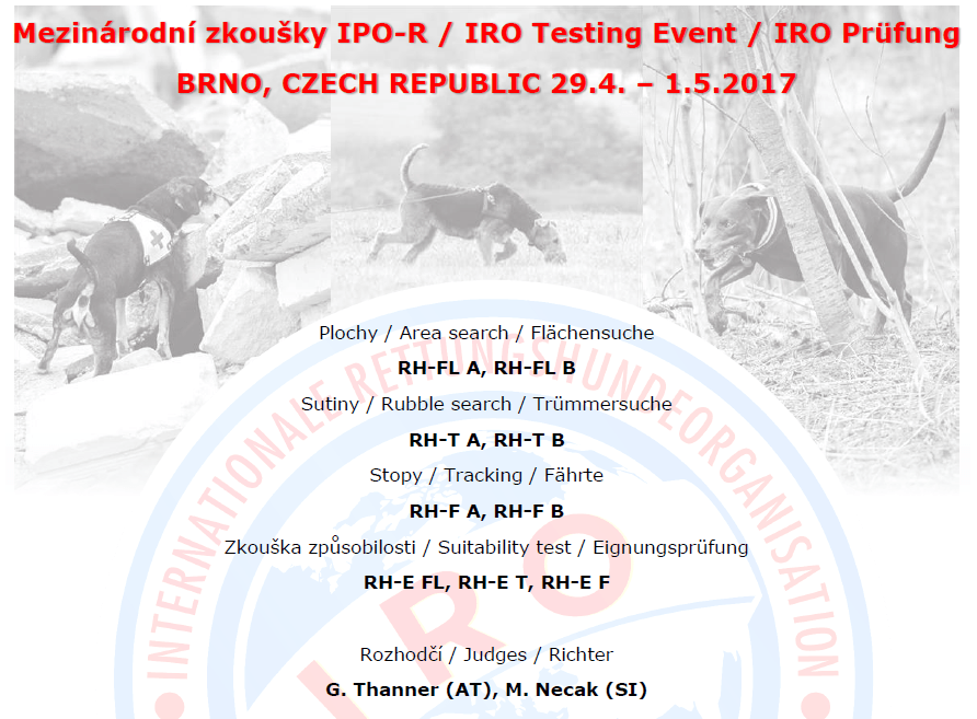 Mezinárodní IRO zkoušky / Int. IRO Testing Event @ Brno | Brno | Česko